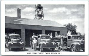 CAMP KILMER New Jersey Postcard Fire Department US Army Camp WWII 1940s Unused