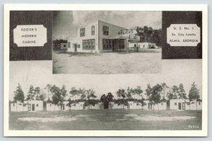 Alma Georgia~Rozier's Modern Cabins~Roadside US 1 Motel~Gas Pump~Office~1950 B&W