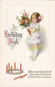 A Birthday Wish, girl with bouquet of flowers, candles, Poem, 00-10s