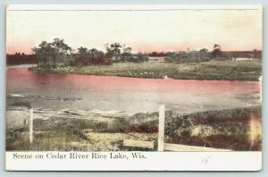 Rice Lake Wisconsin~Cedar River Bend~Sunset Reflects in Water~Sheep or Rock~1907