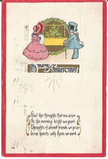 Victorian Woman with Muff and Gentleman in Top Hat Merry Christmas Vintage Post