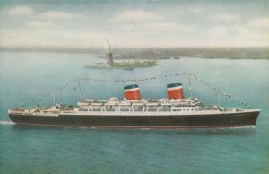 American-Flag luxury liner, S.S. AMERICA, 40-60s; Showing Statue of Liberty