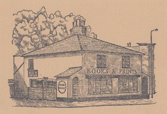 Book Shop Hitchin Hertfordshire Rare Artist Drawing Postcard