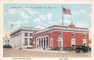 Arkansas City Kansas~5th Avenue West~Home National Bank~Post Office~1920s Car