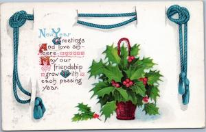 New Year Greetings and Love Sincere - holly plant - 1914