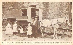 Chester Family Traveling Glendive Montana to Washington DC Postcard AA28976
