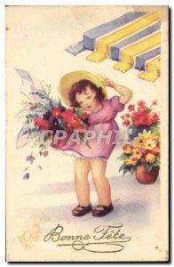 Old Postcard Bonne Fete Children