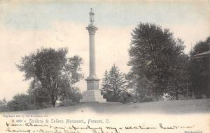 Fremont Ohio~Civil War Soldiers & Sailors Monument~Library Lawn~1906 Rotograph