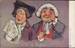Pair of Snuffers men tissue wig comic caricature the Brown Paper Series
