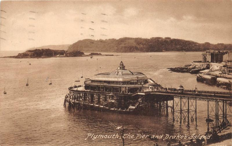 PLYMOUTH DEVON UK THE PIER AND DRAKE'S ISLAND FRITH'S SERIESPOSTCARD 1930