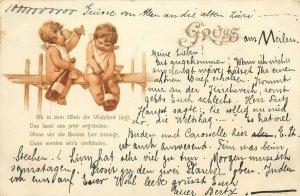 Gruss aus 1899 Switzerland Helvetia cupids angels wine cheers chromo litho