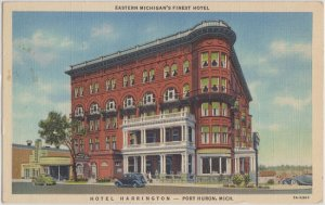 PORT HURON MI - HOTEL HARRINGTON 1940s view / $3 rooms ! CLOSED but restored now