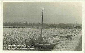 switzerland, GENEVE, Quai Wilson, La Vague de Froid (1929) RPPC Postcard