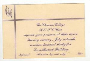 Clemson College ROTC invitation,Clemson,South Carolina 1935