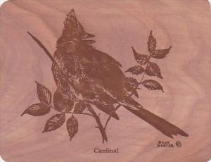 Cardinal Postcard Made Of 3 Pieces Of Eastern Red Cedar Tree Signed Dana Harter