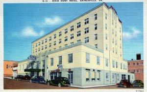Dixie Hunt Hotel Gainesville Georgia Classic Car Linen Vintage Postcard