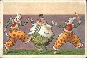 Clowns Circus Colorful Art Fat & Skinny c1905 Postcard