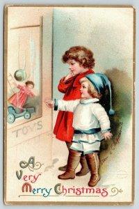 Ellen H Clapsaddle Christmas~Boy & Girl at Toy Store~Farwell MI~WM Burston Gifts