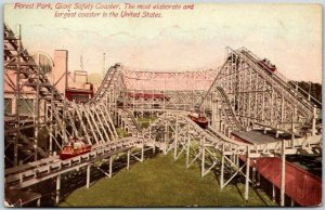 CHICAGO IL Postcard FOREST PARK, Giant Safety Coaster Amusement Park c1910s