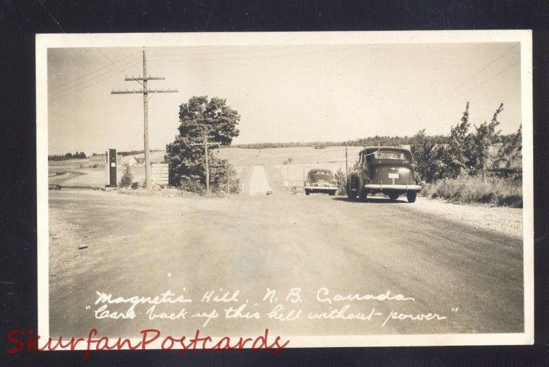 RPPC MAGNETIC HILL NEW BRUNSWICK CANADA 1940's CARS VINTAGE REAL PHOTO POSTCARD