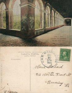 LIMA PERU CLAUSTRO DEL CONVENTO DE SAN FRANCISCO 1909 ANTIQUE POSTCARD