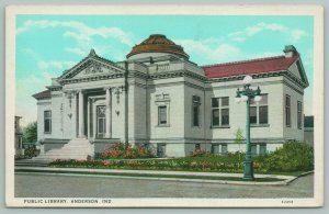 Anderson Indiana~Carnegie Public Library~Still Standing~Globe Lights~c1920 PC