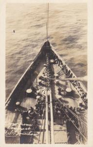 RP: Bow of Ocean Liner / troop transport ship LEVIATON , 1910s