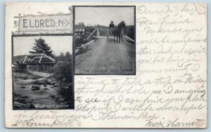 Postcard NY Eldred Bridge Halfway Brook Village Mail Carrier Horse Buggy 1905 O4