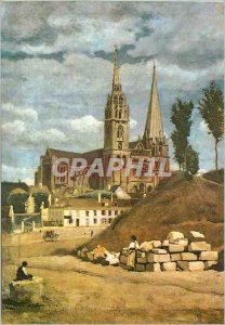 Modern Postcard The Cathedral of Chartres Camille Corot