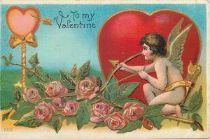 Cupid angel arrow aiming heart target embossed Valentine Day fantasy 1909