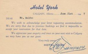 CALGARY, Alberta, Canada, 1947; Response card from Hotel York