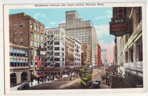 P972 old card busy woodward ave trolleys, cars, music house, detroit michigan