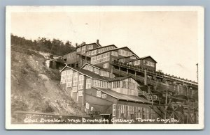 TOWER CITY PA W BROOKSIDE COLLIERY COAL BREAKER ANTIQUE REAL PHOTO POSTCARD RPPC