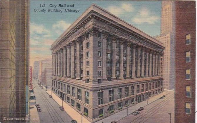 Illinois Chicago City Hall and County Building Curteich