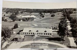 Vtg 40s View from Original Tower Irish Hills MI Golf Course RPPC Photo Postcard