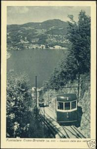 italy, COMO - BRUNATE, Funicolare Trains Switching 20s