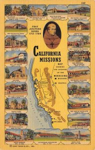Maps California Missions USA Unused
