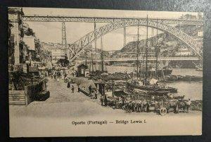 Mint Vintage Oporto Portugal Bridge Lewis I Busy Street Scene RPPC