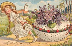 Easter Greeting Girl With Giant Decorated Egg Antique Postcard K78546