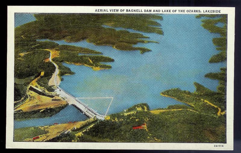 Bagnell Dam Birds Eye Lake of the Ozarks MO unused c1932