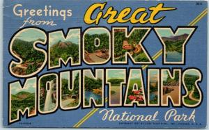 GREAT SMOKY MOUNTAINS National Park Large Letter Postcard Curteich Linen 7AH3026