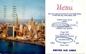 United Air Lines - Menu, 1956