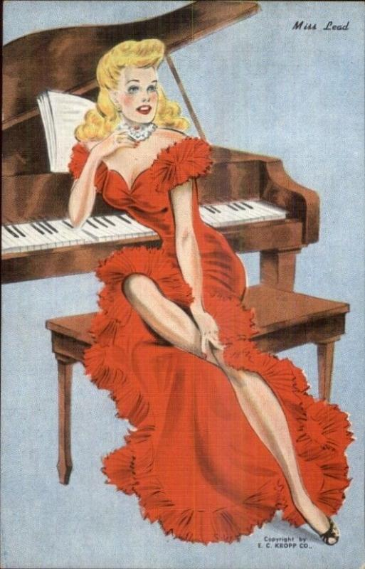 Sexy Woman Long Red Dress Piano MISS LEAD Pinup Linen Postcard EXC COND