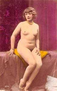 French Tinted Nude Postcard Non Postcard Backing Unused