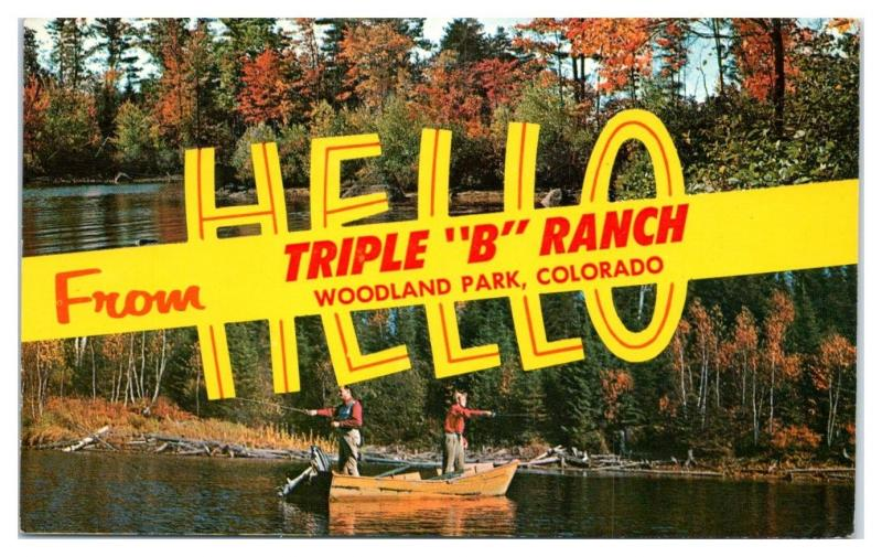 1960s Hello from Triple B Ranch, Woodland Park, CO Postcard