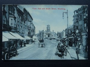 Sussex WORTHING Town Hall & South Street c1910 Postcard by Walter Bros
