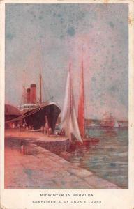 Bermuda Cooks Tours Steamer at Dock Harbour View Antique Postcard J75279