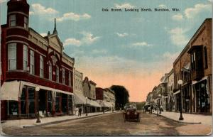 Baraboo WI~2nd Story Bay Window~Corner Tower~Oak Street~Sidewalk Seating c1910