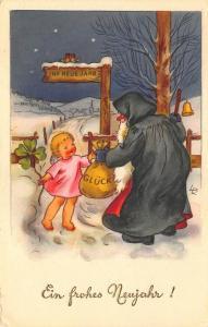 Green Suited Santa Christmas Artist Signed LR Postcard