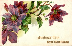 New York Greetings From East Onondaga With Flowers 1910